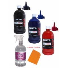 Kit 3 Litros de tinta para pincel de quadro branco + 1 litro limpador brinde